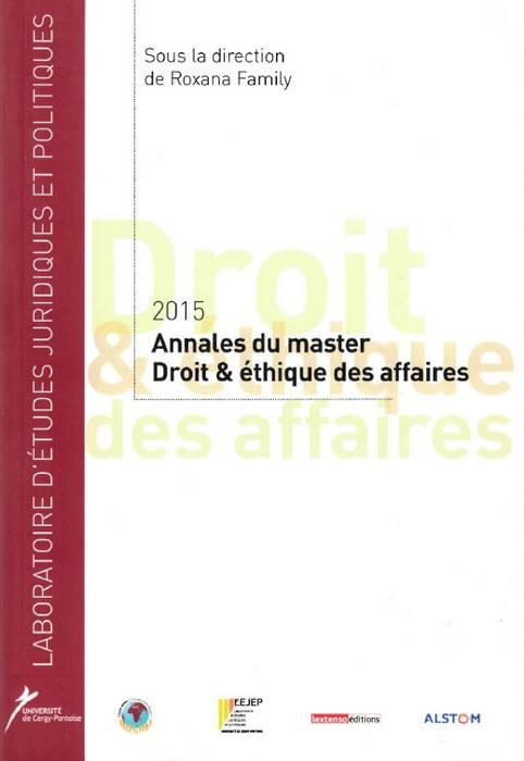 Annales 2015 du master Droit & éthique des affaires