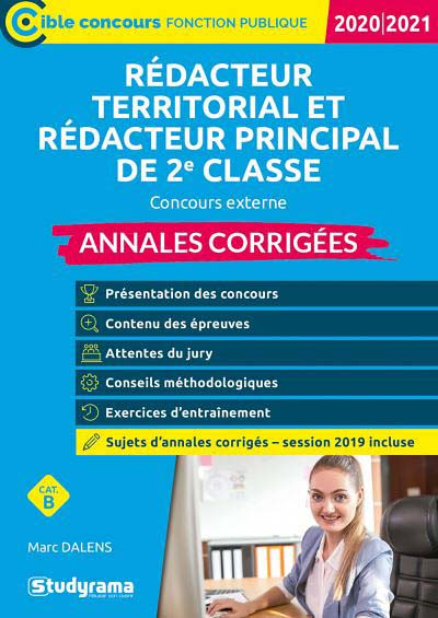 Annales corrigées : rédacteur territorial et rédacteur principal de 2e classe 2020-2021