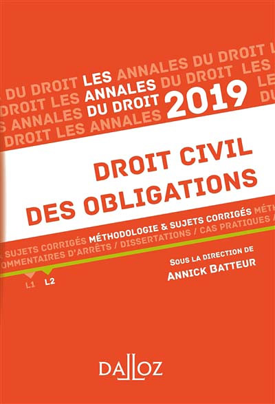 Annales droit civil des obligations 2019