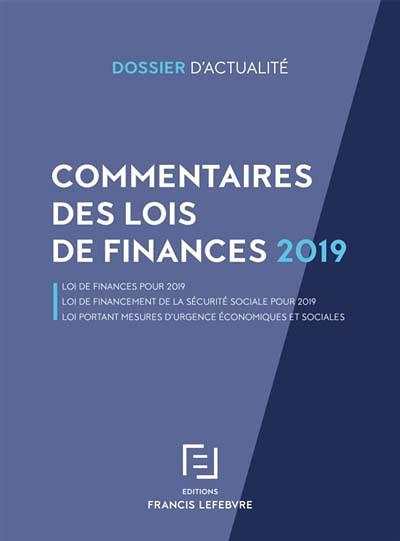 Commentaires des lois de finances 2019