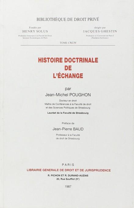 Histoire doctrinale de l'échange