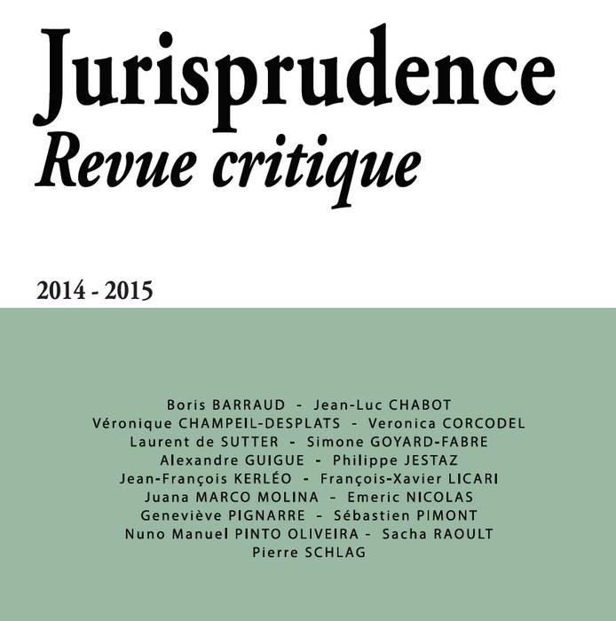 Jurisprudence - Revue critique 2014-2015