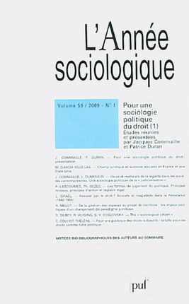 L'année sociologique, 2009 N°1