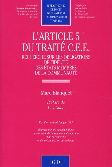 L'article 5 du Traité CEE