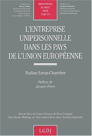 L'entreprise unipersonnelle dans les pays de l'Union européenne