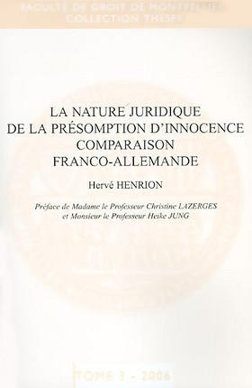 La nature juridique de la présomption d'innocence : comparaison franco-allemande