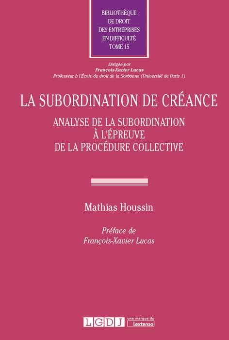 La subordination de créance