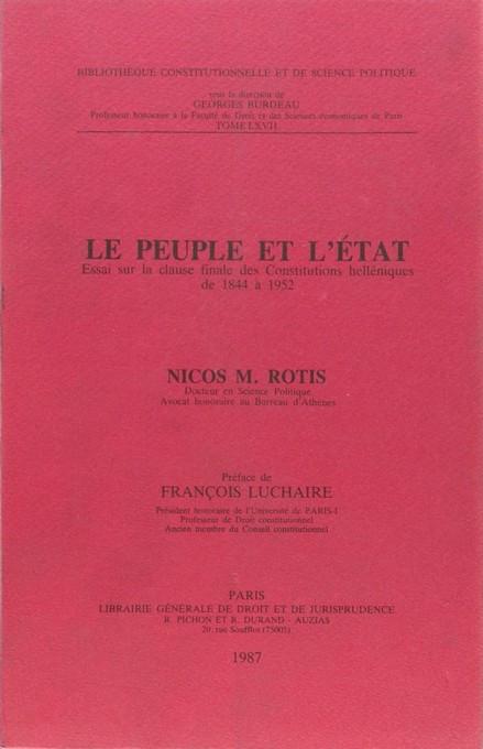 Le peuple et l'État, essai sur la clause finale des Constitutions helléniques de 1844 à 1952