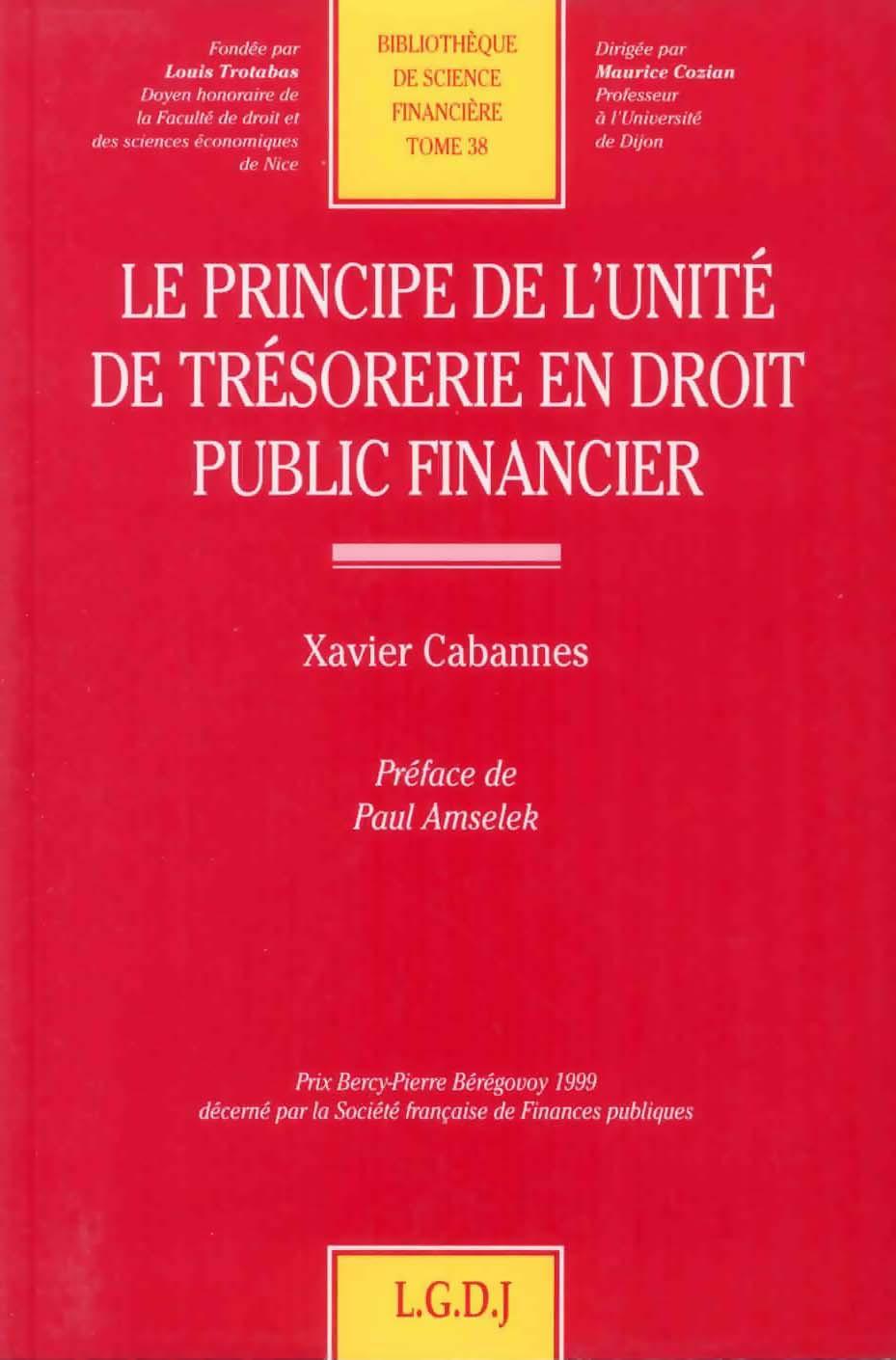 Le principe de l'unité de trésorerie en droit public financier