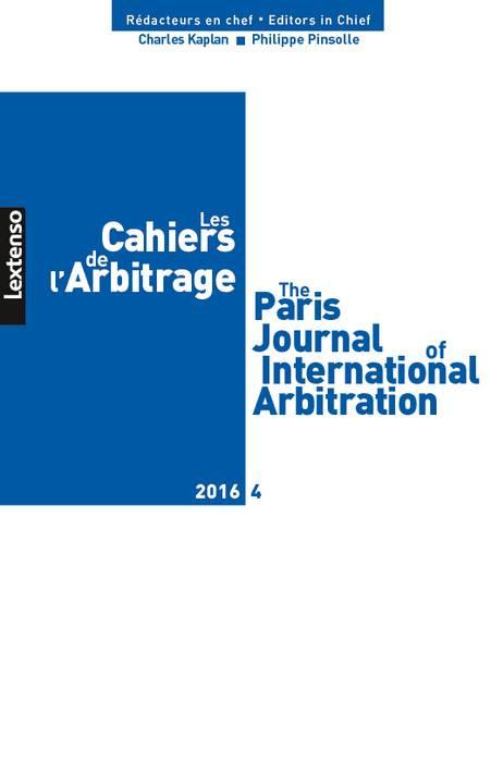 Les cahiers de l'arbitrage N°4-2016