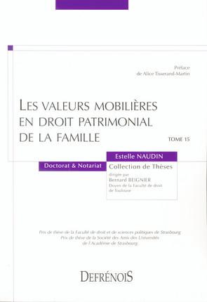 Les valeurs mobilières en droit patrimonial de la famille