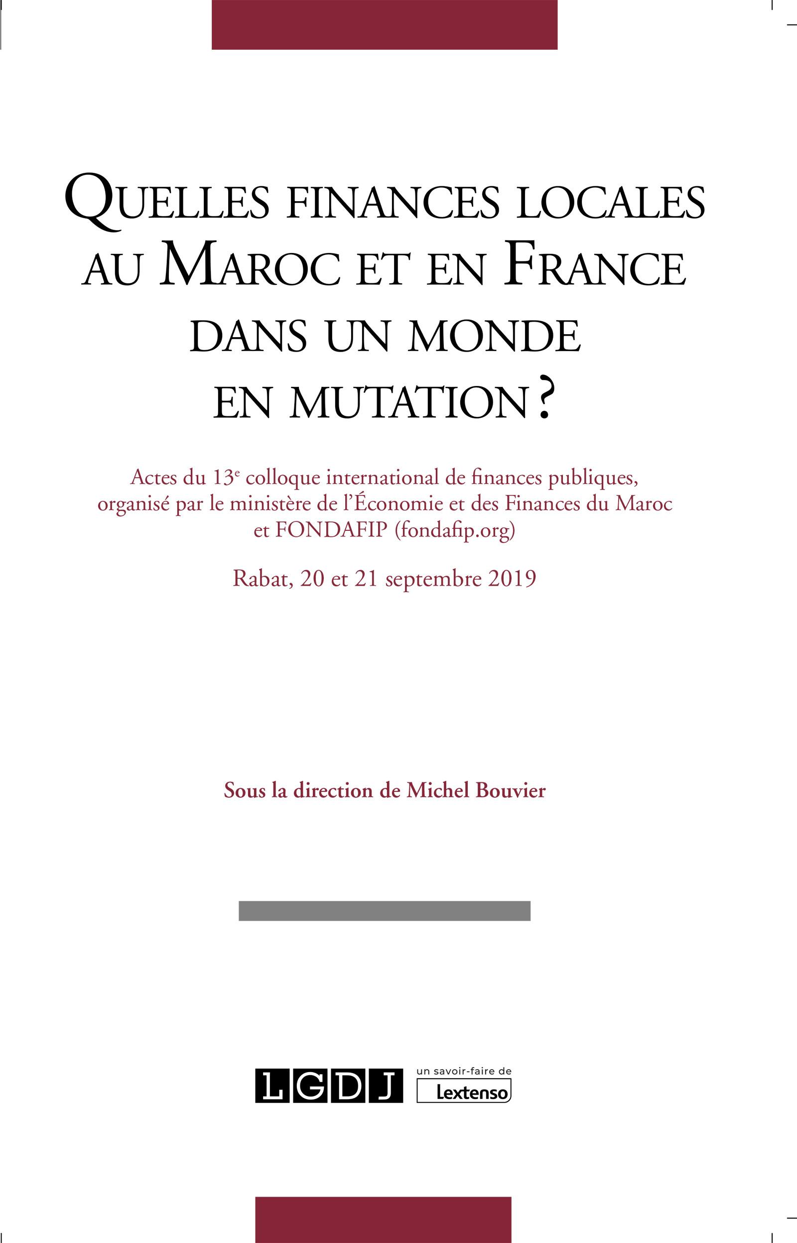 Quelles finances locales au Maroc et en France dans un monde en mutation ?