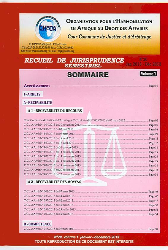 Recueil de jurisprudence semestriel, janvier-décembre 2013 N°20