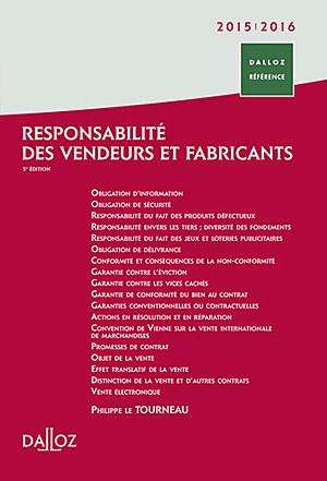 Responsabilité des vendeurs et fabricants 2015-2016