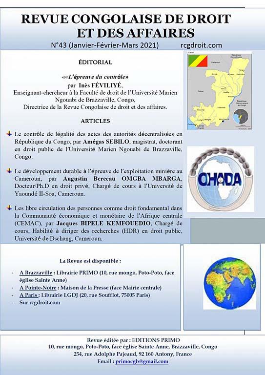 Revue congolaise de droit des affaires, janvier-mars 2021 N°43