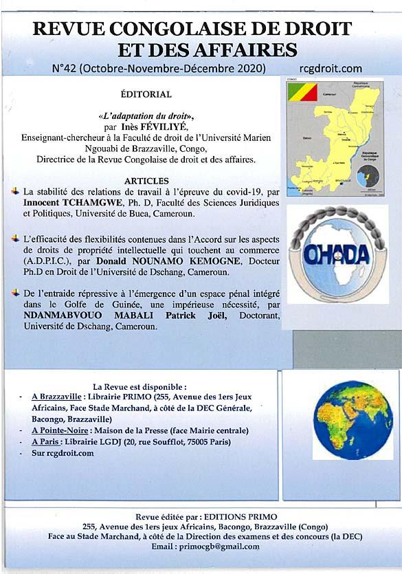 Revue congolaise de droit des affaires, octobre-décembre 2020 N°42
