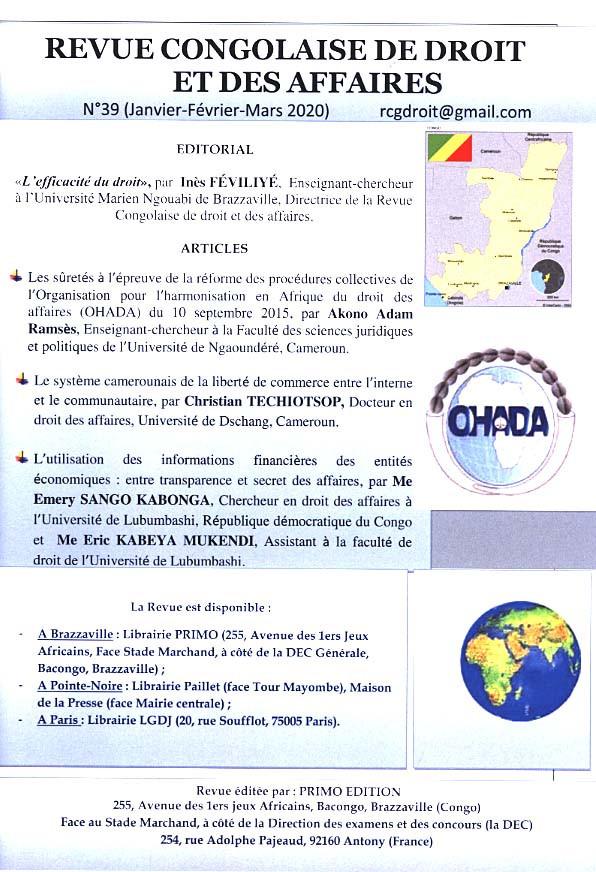 Revue congolaise de droit et des affaires, janvier-mars 2020 N°39