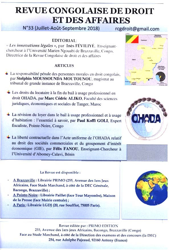 Revue congolaise de droit et des affaires, juillet-septembre 2018 N°33