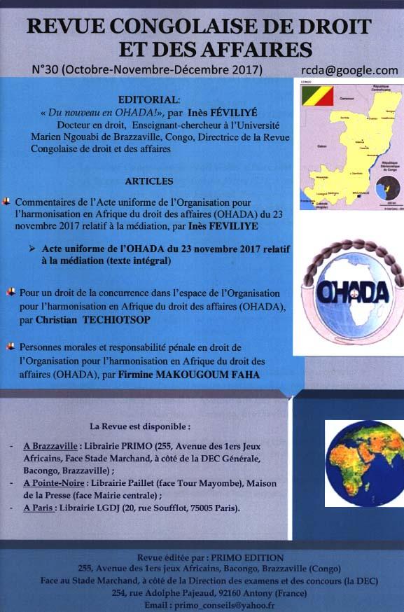 Revue congolaise de droit et des affaires, octobre-décembre 2017