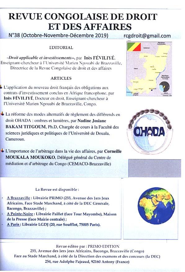 Revue congolaise de droit et des affaires, octobre-décembre 2019 N°38