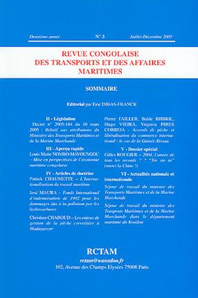 Revue congolaise des transports et des affaires maritimes, deuxième année, juillet-décembre 2005 N°3