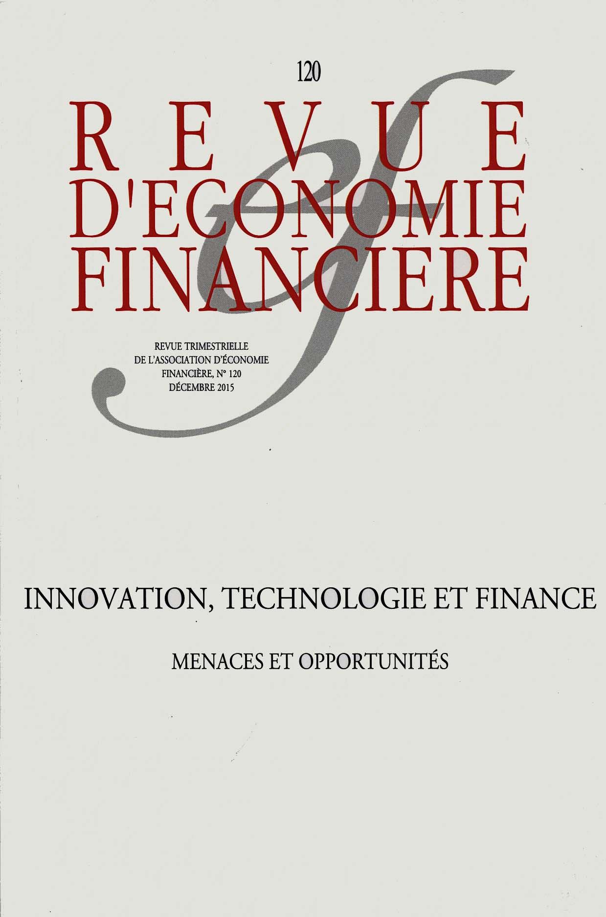 Revue d'économie financière, décembre 2015 N°120