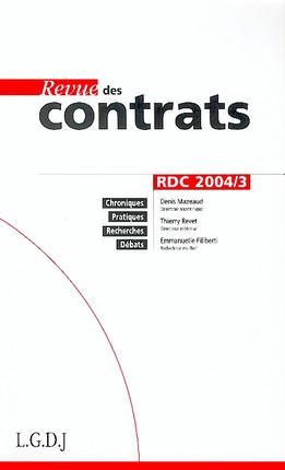 Revue des contrats,juillet 2004 N°3