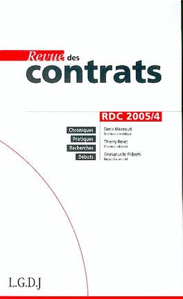 Revue des contrats, octobre 2005 N°4