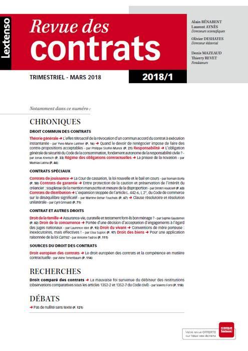 Revue des contrats RDC N°1-2018