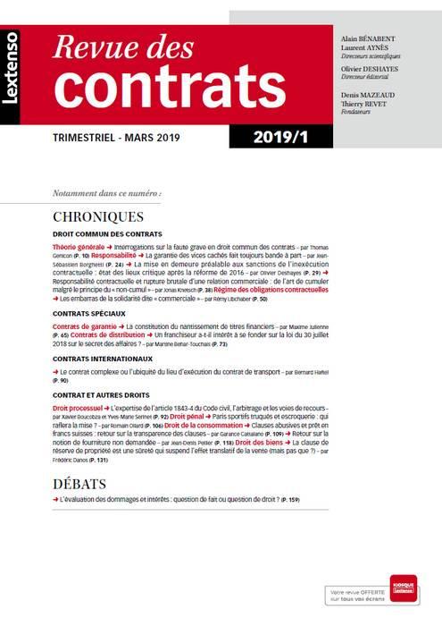 Revue des contrats RDC N°1-2019