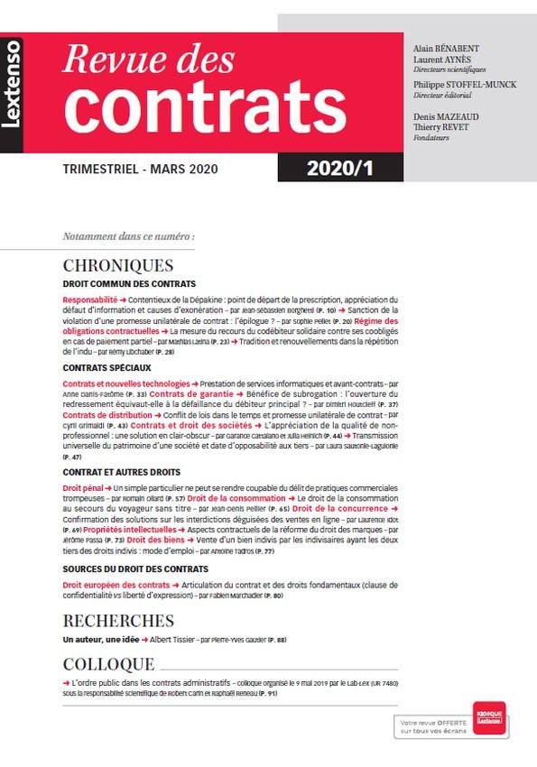 Revue des contrats RDC N°1-2020