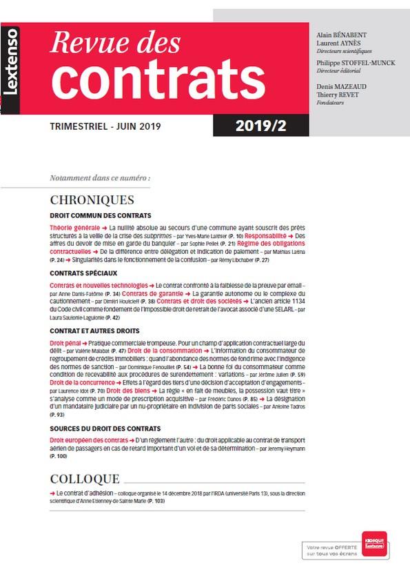 Revue des contrats RDC N°2-2019