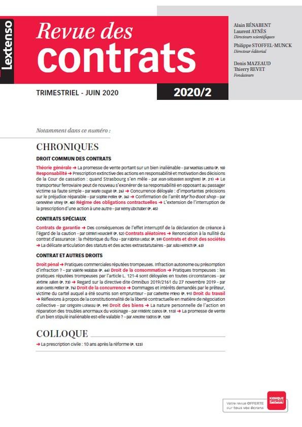 Revue des contrats RDC N°2-2020