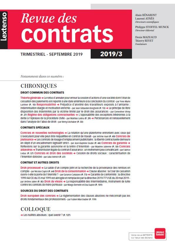 Revue des contrats RDC N°3-2019