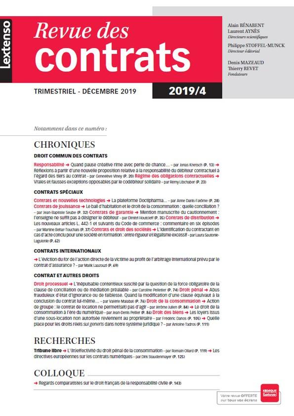 Revue des contrats RDC N°4-2019