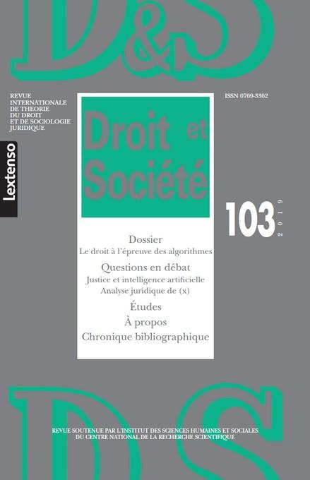 Revue Droit et Société, 2019 N°103