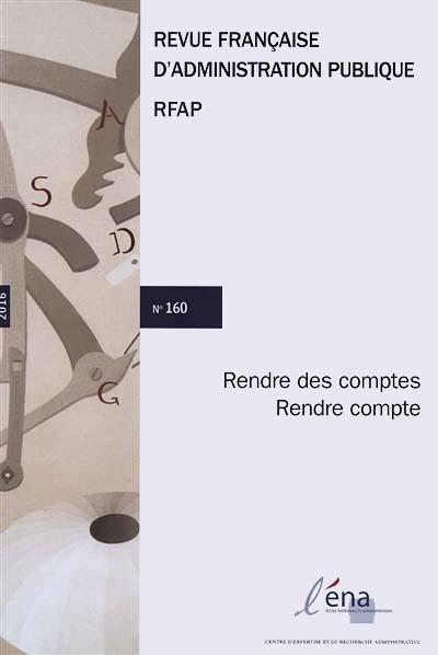 Revue française d'administration publique, 2016 N°160