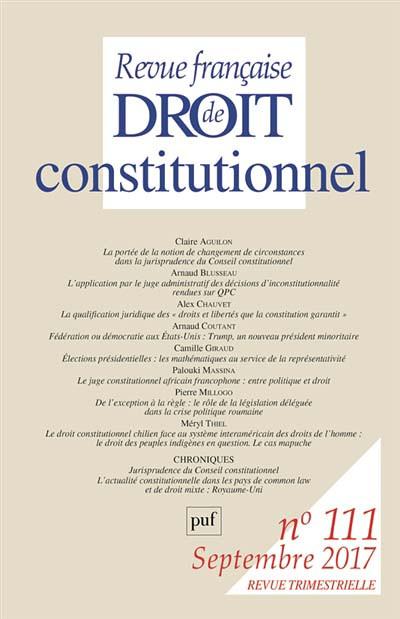 Revue française de droit constitutionnel, septembre 2017 N°111
