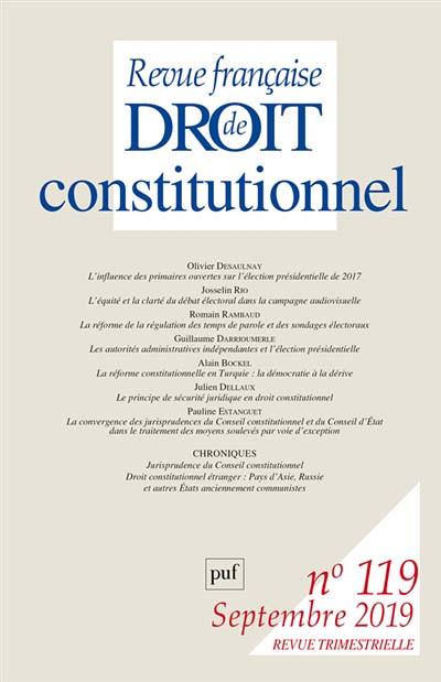 Revue française de droit constitutionnel, septembre 2019 N°119