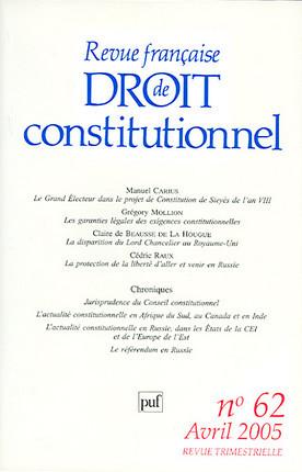 Revue française de droit constitutionnel, avril 2005 N°62