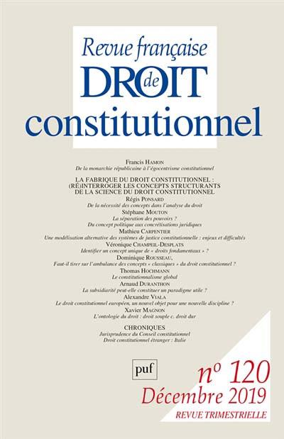 Revue française de droit constitutionnel, décembre 2019 N°120