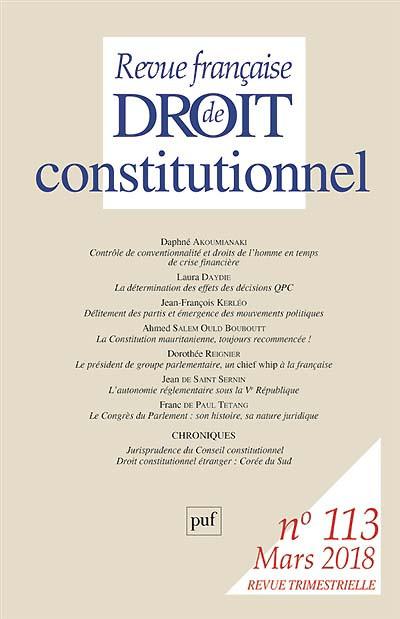Revue française de droit constitutionnel, mars 2018 N°113
