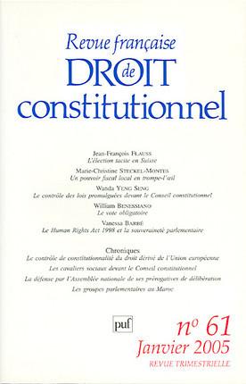 Revue française de droit constitutionnel, janvier 2005 N°61