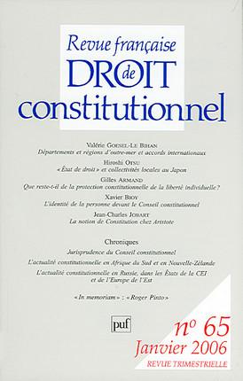 Revue française de droit constitutionnel, janvier 2006 N°65