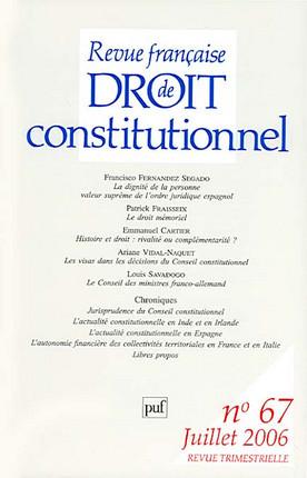 Revue française de droit constitutionnel, juillet 2006 N°67
