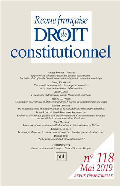 Revue française de droit constitutionnel, mai 2019 N°118