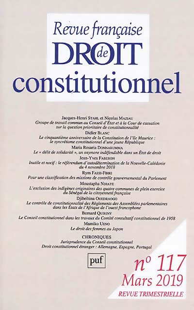 Revue française de droit constitutionnel, mars 2019 N°117