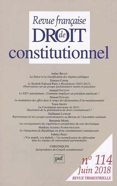 Revue française de droit constitutionnel, juin 2018 N°114
