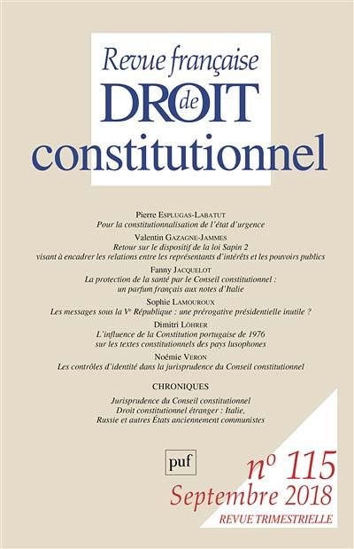 Revue française de droit constitutionnel, septembre 2018 N°115