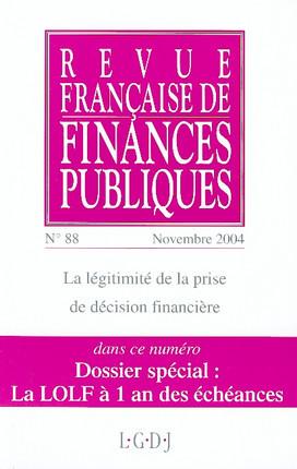 Revue Française de Finances Publiques, novembre 2004 N°88